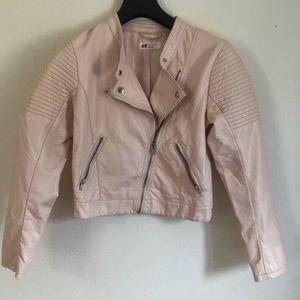 light pink H&M leather jacket